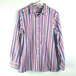 Foxcroft Blouse Sz 8 Wrinkle Free Pink Button Up